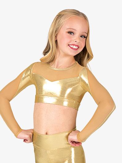 Girls Performance Metallic Mesh Long Sleeve Crop Top - Style No ING163C