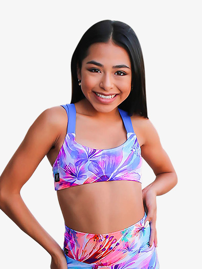Girls Tropical Print Dual Tank Dance Crop Top - Style No K19999C