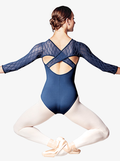 Womens Diamond Flock Mesh 3/4 Sleeve Leotard - Style No L9516