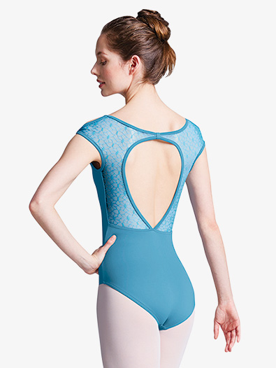 Womens Geo Mesh Cap Sleeve Open Back Leotard - Style No L9552