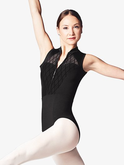 Womens Diamond Flock Mesh Mock Neck Leotard - Style No L9915