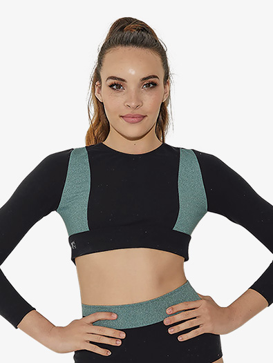 Girls Two-Tone Heather Long Sleeve Dance Crop Top - Style No LS6750C