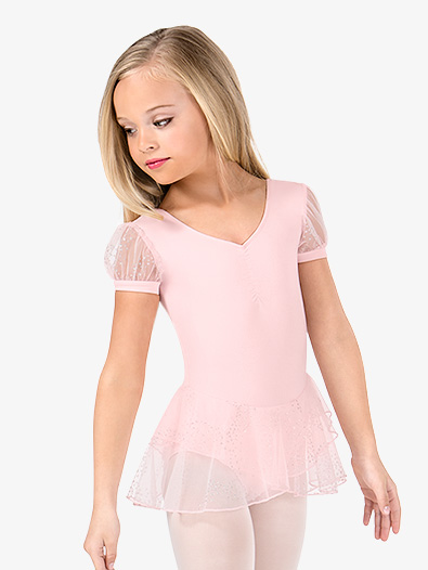 Girls Glitter Mesh Short Sleeve Ballet Dress - Style No M4304
