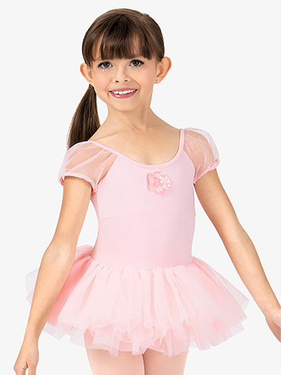 Girls Sequin Flower Puff Short Sleeve Ballet Tutu Dress - Style No M440C