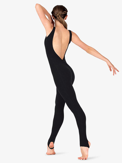 Womens Sueded Cotton Deep V-Back Stirrup Dance Unitard - Style No MM110