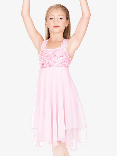 Child Sequin Bodice Chiffon Dress - Style No N7093C