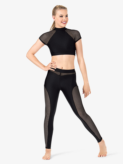 Womens Mesh Inset Dance Leggings - Style No N7219