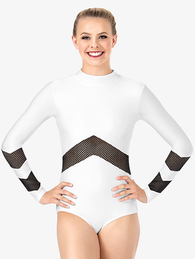 Womens Mesh Long Sleeve Leotard - Style No N7228