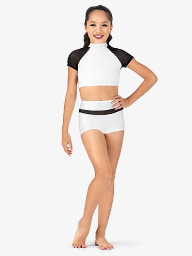 Girls Mesh Inset Dance Shorts - Style No N7230Cx