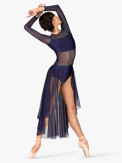 Adult Long Sleeve High-Low Dance Performance Dress - Style No N7316
