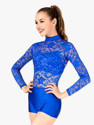Adult Emballe Lace Long Sleeve Shorty Unitard - Style No N7340