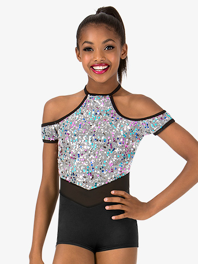 Girls Sequin Halter Performance Shorty Unitard - Style No N7467C