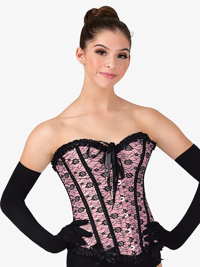 Womens Lace Overlay Hook Front Dance Corset - Style No N7533