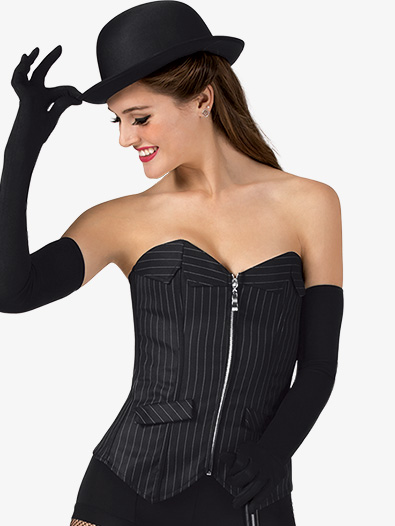 Womens Pinstripe Zip Front Dance Corset - Style No N7537