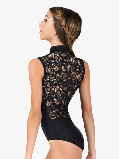 Womens Mock Neck Lace Back Tank Leotard - Style No N7642