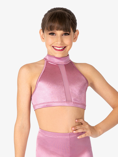 Girls Performance Satin Open Back Halter Crop Top - Style No N7692C