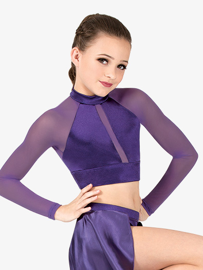 Girls Performance Satin Mock Neck Crop Top - Style No N7695C