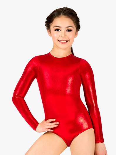 Girls Metallic Long Sleeve Leotard - Style No N7722C