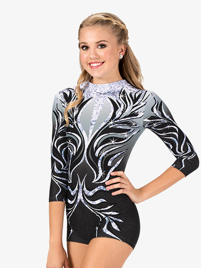 Girls Rhinestone Swirl Sublimated Print Performance Shorty Unitard - Style No N7741C