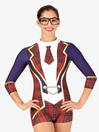 Womens School Girl Sublimated Print 3/4 Sleeve Performance Unitard - Style No N7758