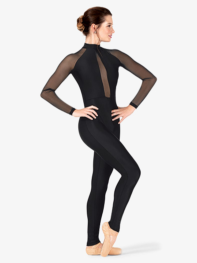 Womens Performance Plunging Mesh Long Sleeve Unitard - Style No N7767