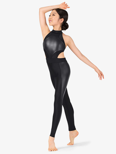 Girls Performance Matte Metallic Halter Unitard - Style No N7770C