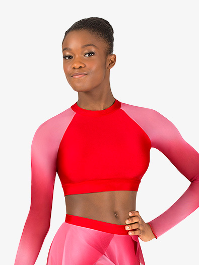 Womens Performance Ombre Mesh Long Sleeve Crop Top - Style No N7782