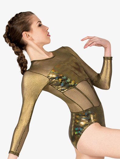 Womens Performance Metallic Long Sleeve Leotard - Style No N7805