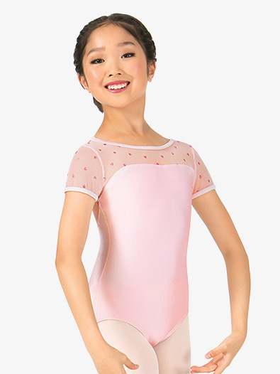 Girls Heart Mesh Short Sleeve Leotard - Style No N8974C