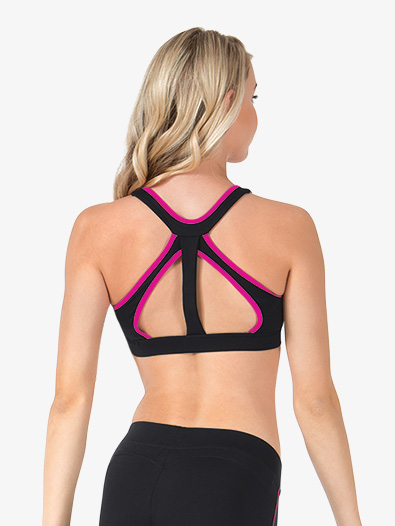 Adult Pink Trim Compression Sports Bra Top - Style No NA117x