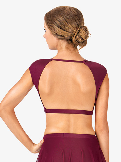 Adult Cap Sleeve Open Back Dance Crop Top - Style No NL9021