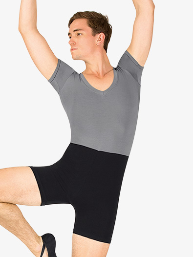 Mens Dance Two-Tone Short Sleeve Shorty Unitard - Style No P738M