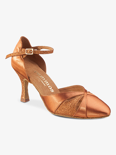 Womens Closed Toe Glitter Satin Ballroom Dance Shoes - Style No R405