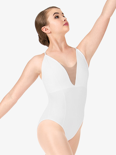 Womens Deep V Mesh Leotard - Style No RDE1623