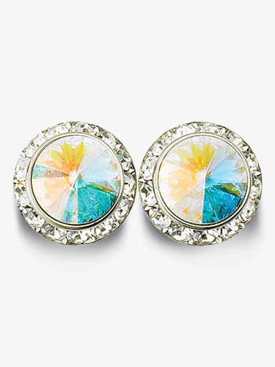 11mm Pierced Earrings with Swarovski Crystals - Style No RU025