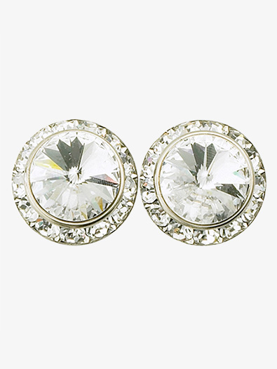 15mm Pierced Earrings with Swarovski Crystals - Style No RU048