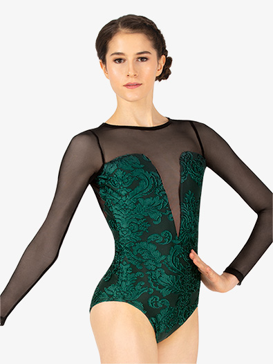 Womens Burnout Velvet Long Sleeve Leotard - Style No SK601