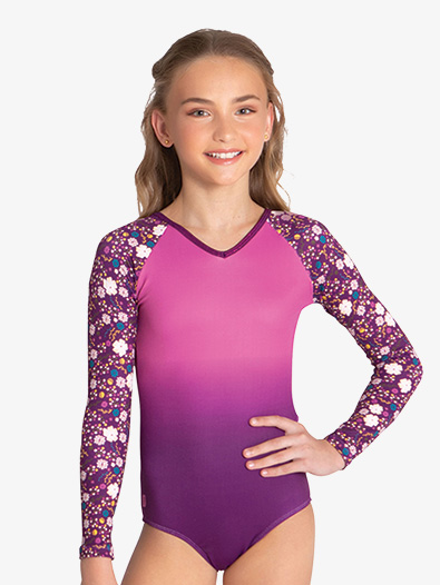 Girls ''Elva'' Floral Long Sleeve Leotard - Style No SPGWH007C