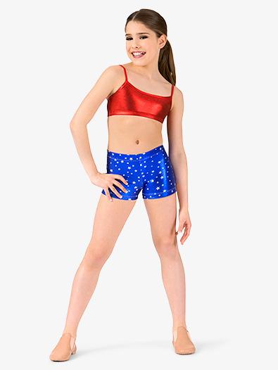 Girls Metallic Stars and Stripes Dance Shorts - Style No ST4813