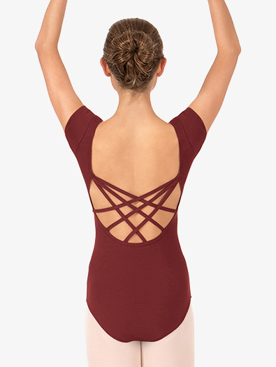 Adult Short Sleeve Strappy Back Dance Leotard - Style No TH5524
