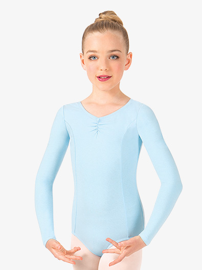 Girls Pinch Front Long Sleeve Leotard - Style No TH5534C