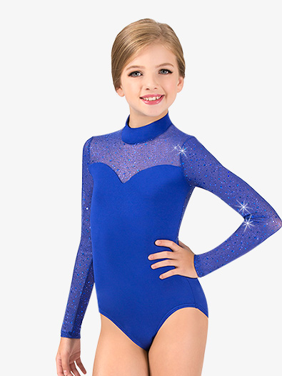 Girls Performance Twinkle Mesh Mock Neck Long Sleeve Leotard - Style No TW321