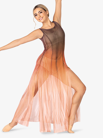 Adult Plus Size Long Tank High Slit Mesh Lyrical Dress - Style No WC232P