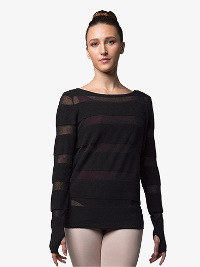 Womens Sheer Stripe Knit Warm Up Sweater - Style No Z7219