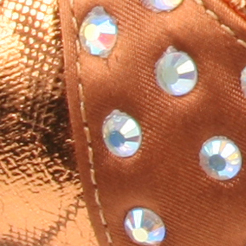 Dark Tan/Foil Copper Leather with Rhinestone
